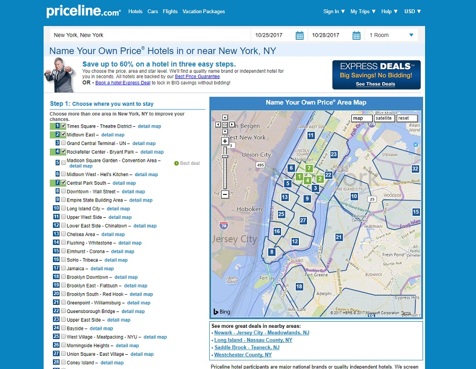 How to save money on hotels with Priceline Name Your Own Price - narrowing down your list