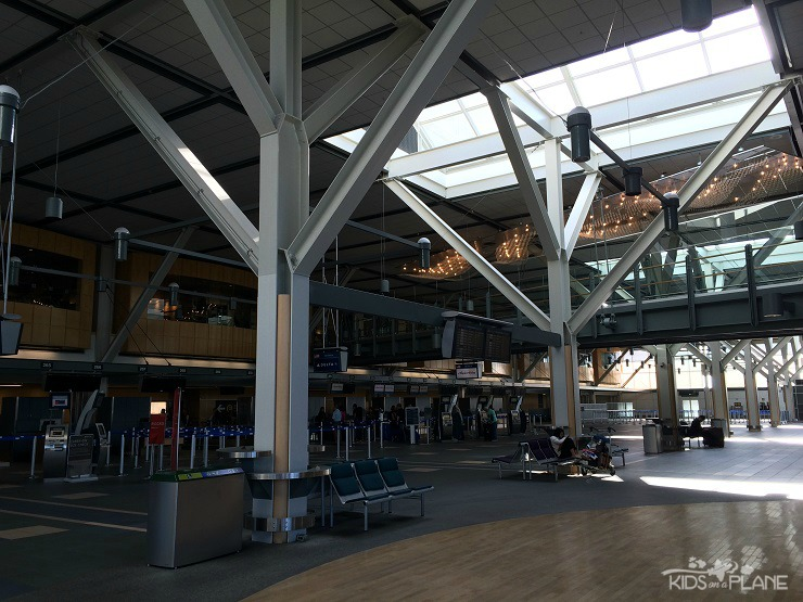 Look for the chandeliers and the giant escalators near the US departures desk to find The Fairmont Vancouver Airport