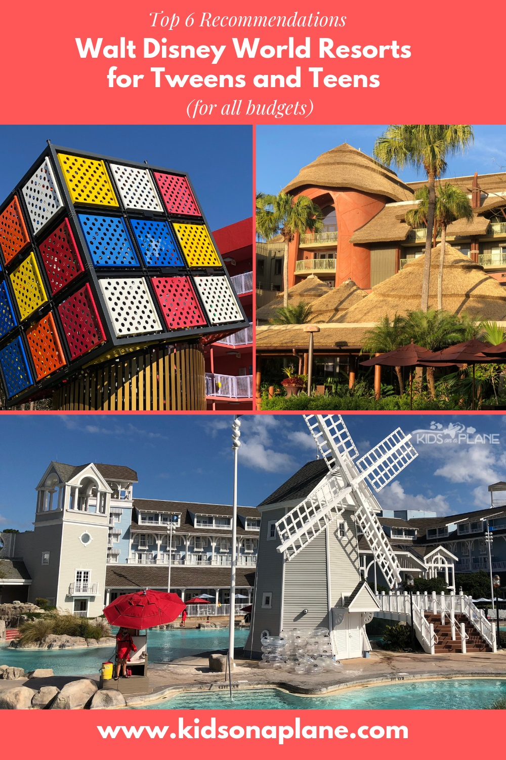 Best Walt Disney World Resort Hotels for Tweens and Teens and all budgets