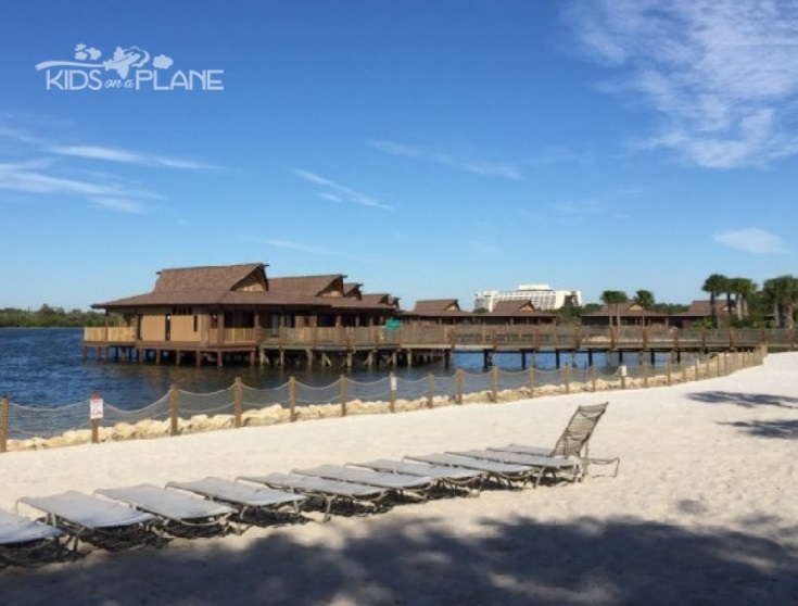 Disney World Polynesian Village Resort with Disney Contemporary Resort in Background