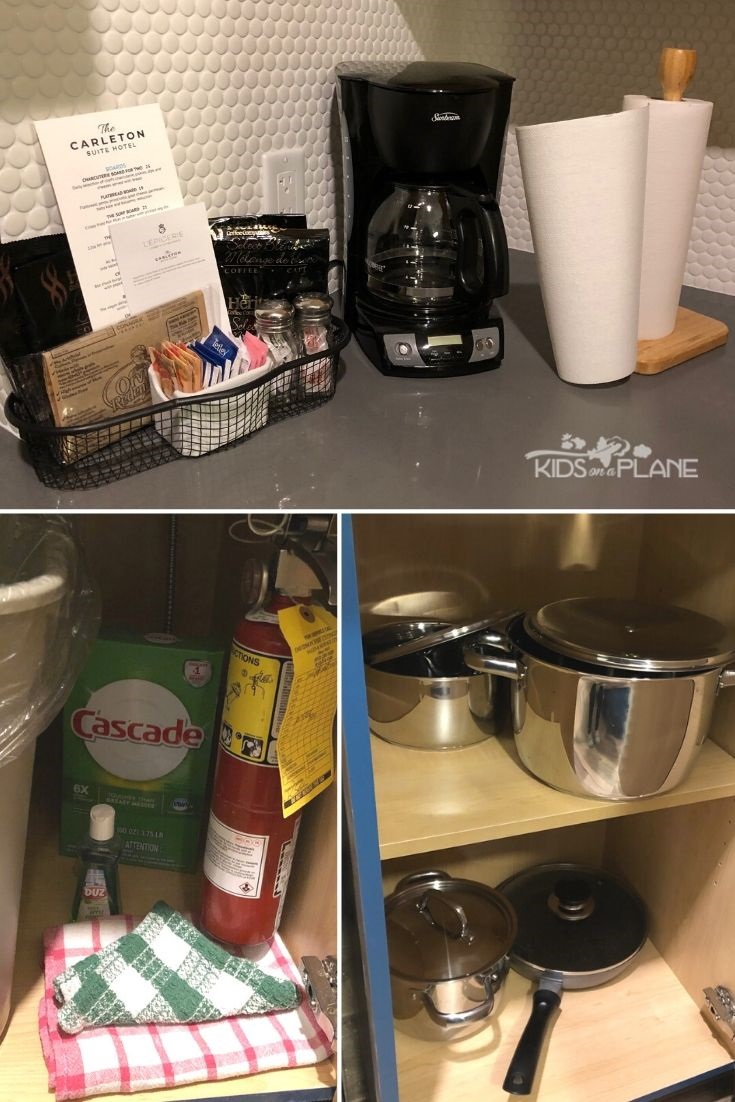 Carleton Suite Hotel Ottawa Review - Popcorn coffee tea paper towels dish detergent and pots and pans in the kitchen