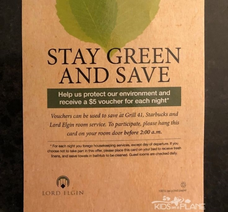 Lord Elgin Hotel Ottawa Review - skip housekeeping and get 5 dollar coupon for Starbucks or Grill 41